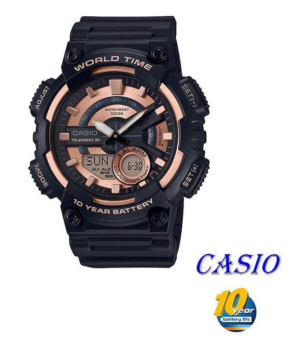 CASIO卡西歐指針與數字雙結合的 ,AEQ~110W 錶款 AEQ~110W~1A3 A