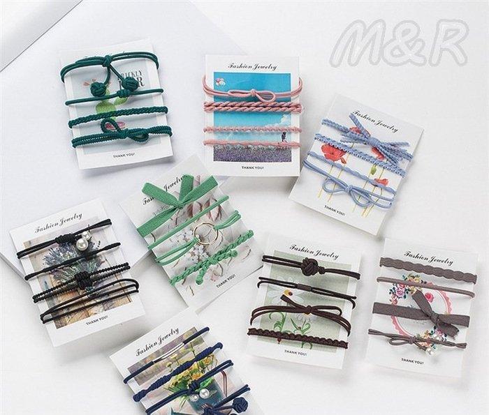 韓 4件套 卡裝皮筋髮繩髮圈 髮飾頭飾手繩手鍊飾品