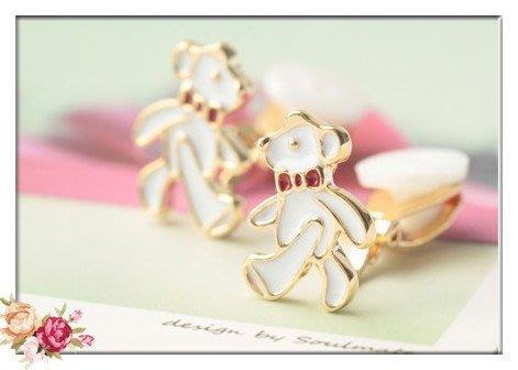 玫瑰森林-- ☆°*美麗嚴選~ 甜美女孩 精緻可愛紅色蝴蝶結白色熊耳夾式 無耳洞耳環