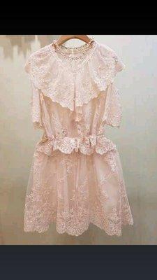 正韓東大門夏天預購款學院風似昆凌款蕾絲短袖洋裝