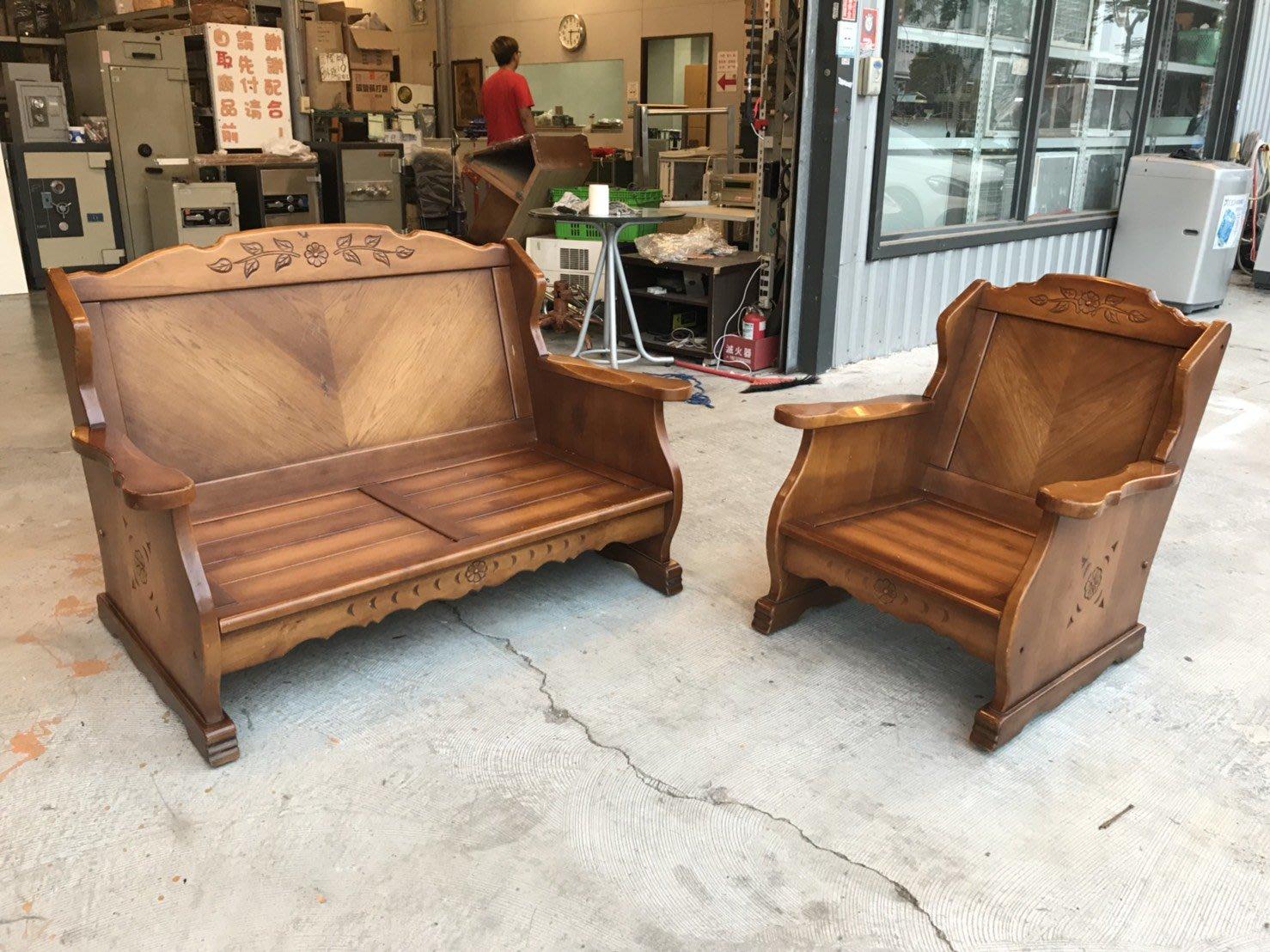 【全國二手傢俱館】實木2+1雕刻木製沙發組/客廳原木沙發組/實木沙發/會客實木沙發組/二手實木沙發/二手原木椅組