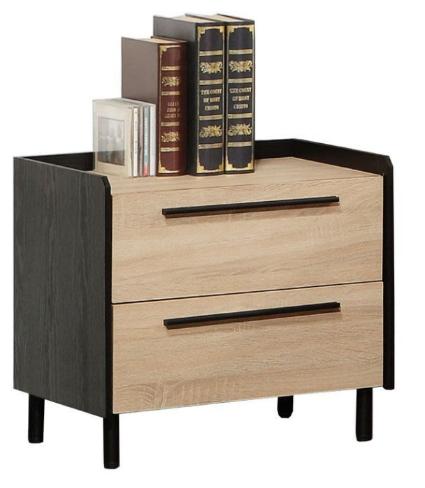 【DH】商品貨號N46-1商品名稱《門索羅》50CM床頭櫃(圖一)雙抽.木心板台灣製.可訂做.細膩優質.新品特價