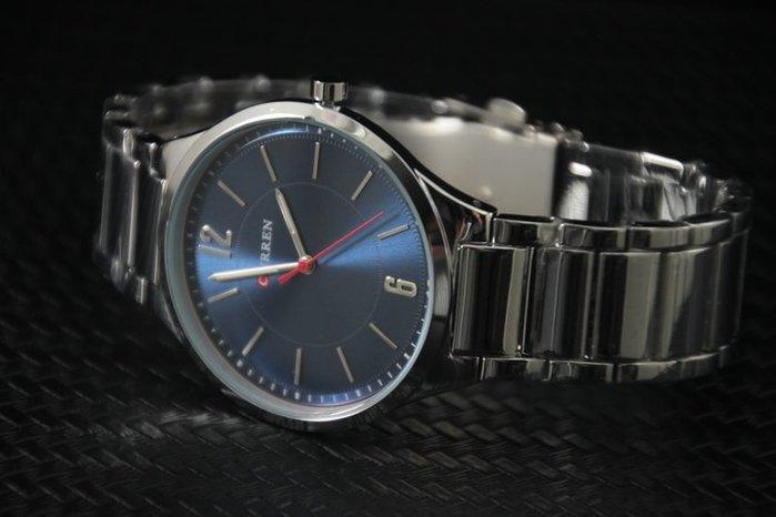 CURREN韓流休閒風,時尚感寶藍色面板清晰刻度時尚好搭,造型石英錶