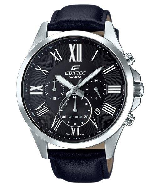 ㄚ寶3C   CASIO EFV~500L~1 真皮錶帶 以羅馬數字點綴於錶盤時刻顯示