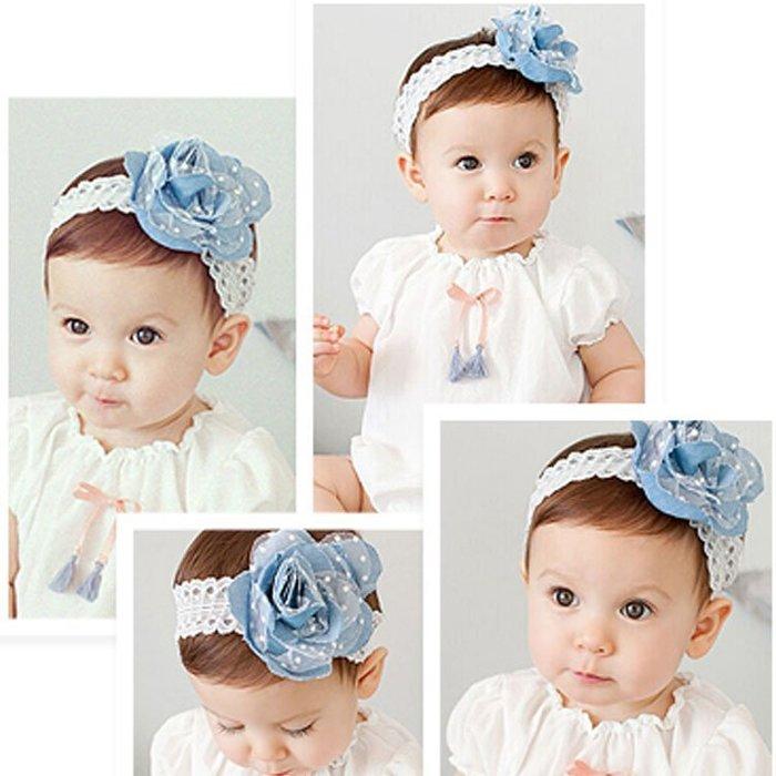 韓國款 蕾絲 牛仔 花朵 彈性髮帶 兒童 寶寶 嬰兒 頭花 髮飾 團拍     5條送飾品
