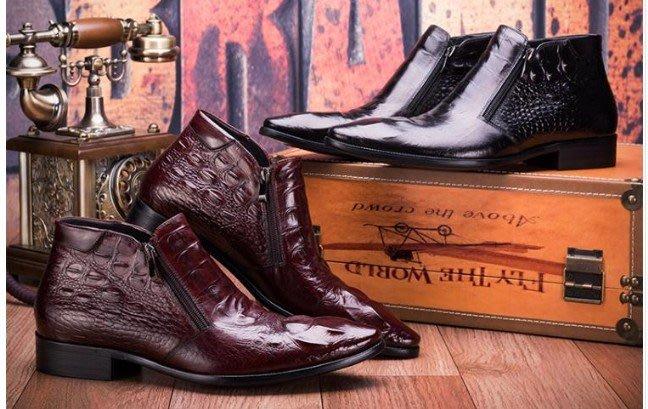 秋冬新品低筒靴 拉鍊尖頭短靴字 頭等牛皮英倫商務正裝皮靴