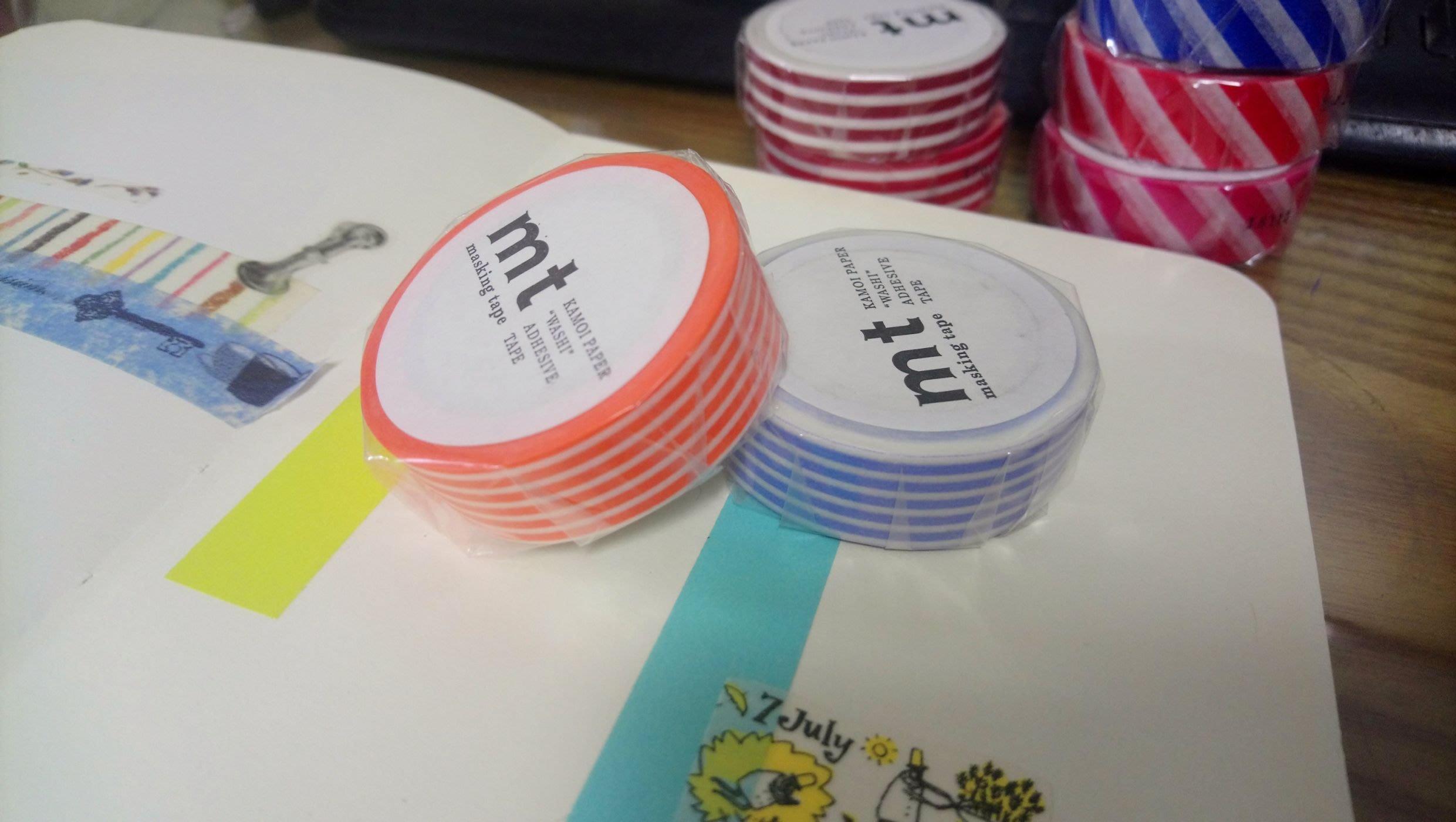 【R的雜貨舖】紙膠帶分裝 日本mt和紙膠帶 基本款 直條紋 亮橘+紫藤