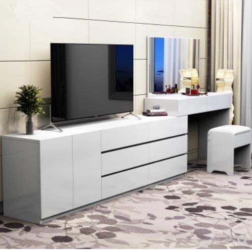 【名品家具】烤漆梳妝台 現代化妝台(白色小戶型)梳妝台/電視櫃一體櫃組合 包郵