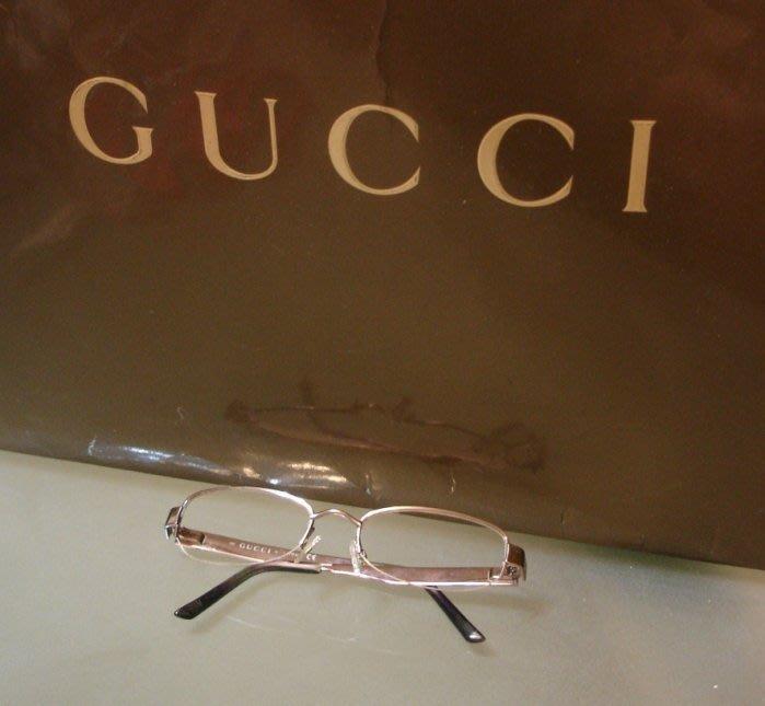 義大利GUCCI (古馳)中性 淡玫瑰金半無框+閃亮細晶鑽 度數片鏡架 絕版真品