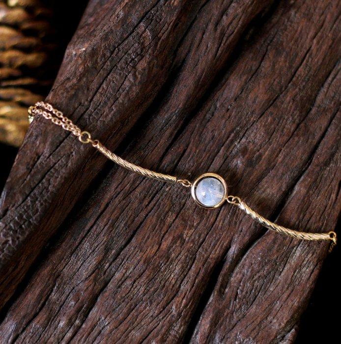 光 軌跡 . 天然礦石手鍊 頂級白月光石 24K金純銅配件 高貴內斂 簡約質感 手鍊手環 阿利耶Alaya