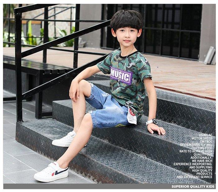 日韓歐美♥韓版 帥氣迷彩字母圓領短T+牛仔五分褲 兩件式 百搭款 套裝 個性外出必備【E675】
