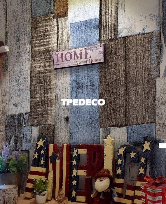 【大台北裝潢】TZ國產現貨壁紙* 仿建材 工業風拼貼木紋(2色) 每支500元