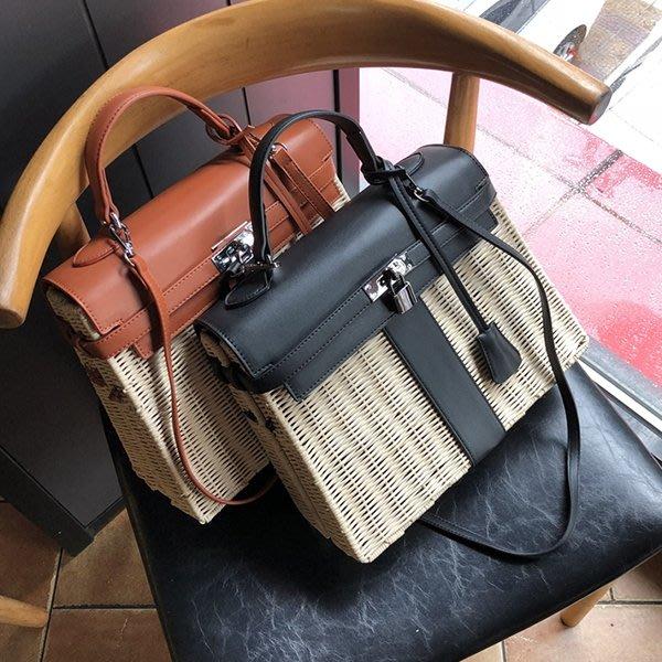 bc15df7148  BLACK A 獨家韓國空運藤編凱莉包Kelly bag 32 28