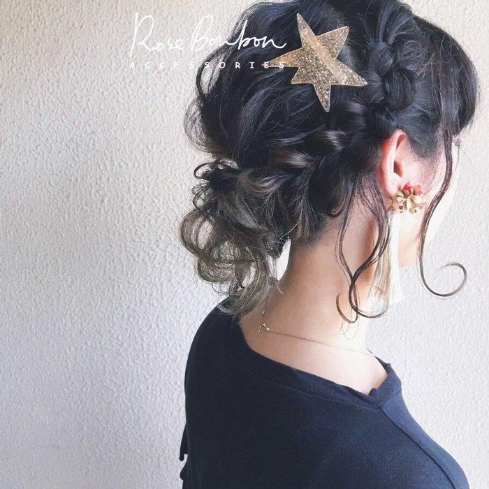 石原里美閃爍六芒星金屬色彈簧夾醋酸板材復古環保材質盤髮飾品髮飾金色銀色頭飾Rose Bonbon