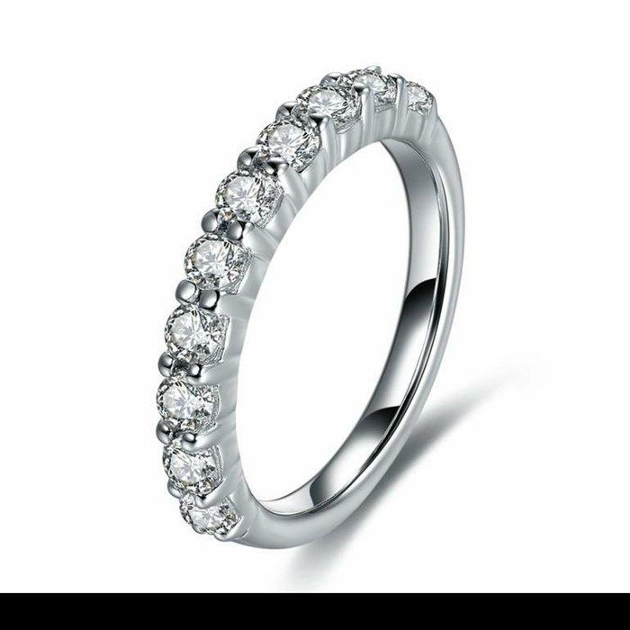鑽戒線戒十全十美十顆27分鑽求婚 結婚高仿真鑽石手飾 歐美豪華高檔微鑲純銀戒指   FOREVER鑽寶