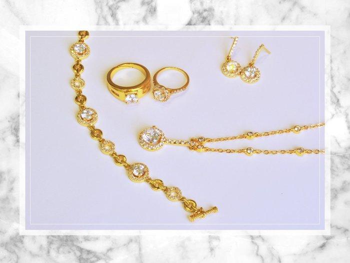 黛恩珠寶 設計師款24k黃金色時尚華麗結婚套組 訂婚求婚紗婚禮婚戒婚宴婚禮拍攝純金鑽戒求婚戒結婚戒婚禮小物