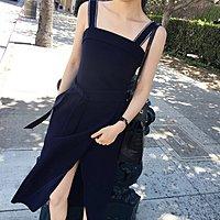 *Herstory*【現貨。免運費】質感露背綁帶長裙。日本 韓國 洋裝 小禮服 度假 背心 短褲 一字領 長洋裝
