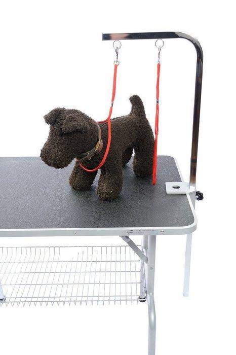 現貨-專業寵物美容桌雙環L型吊桿組(含吊桿/固定座/美容繩2條)適各式美容桌一般桌面