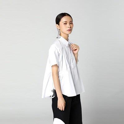 短袖 上衣 純色襯衫-兩側抽繩繫帶寬鬆女上裝2色73th17[獨家進口][巴黎精品]