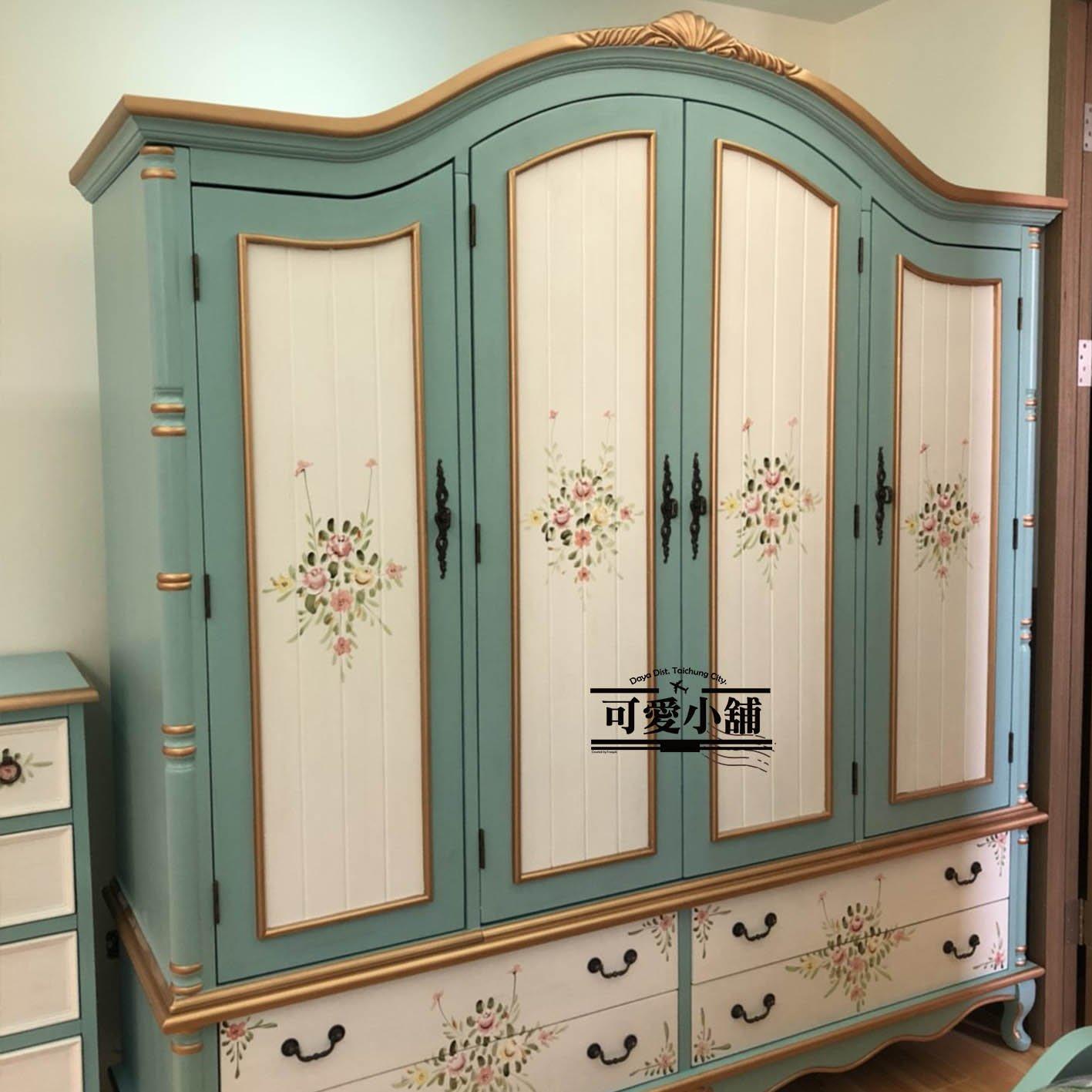 (台中 可愛小舖)維多利亞歐風刷舊仿舊四抽(四拉)四門有層板大衣櫃衣櫥造型櫃置物櫃收納櫃雙人衣櫃彩繪花卉藍綠色雙色櫃