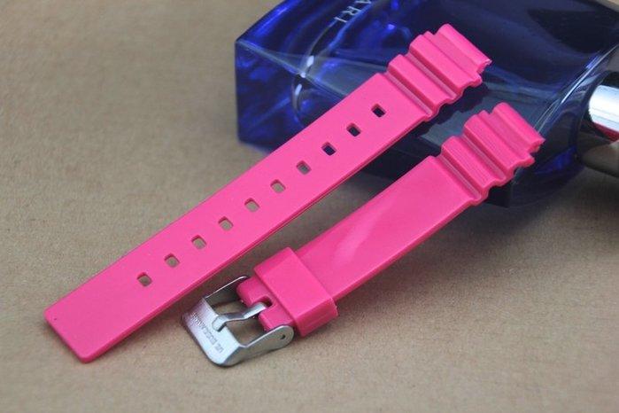 凸型14mm錶帶桃紅色橡膠錶帶~不鏽鋼製表扣