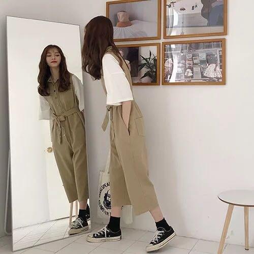 韓版復古寬鬆百搭連身吊帶褲連體褲