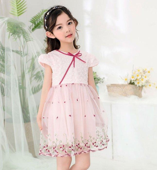 現貨 女童網紗繡花蝴蝶緞帶洋裝18MM150617