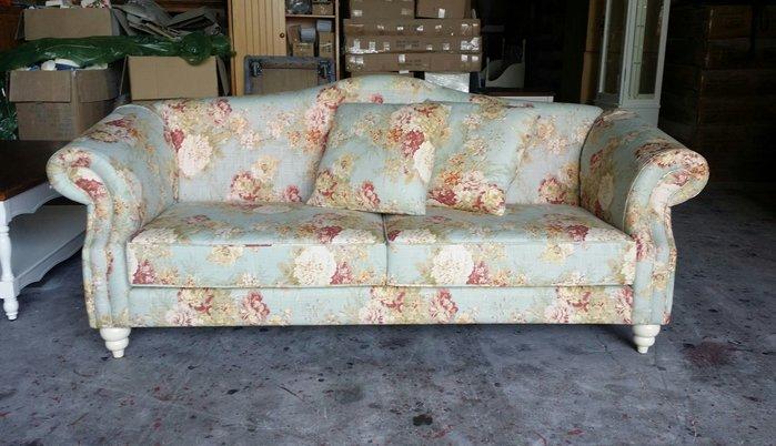 美生活館---美式鄉村家具訂製沙發 可換布 棉麻布花開富貴三人沙發椅/玄關椅--另有 1+2 可選 可修改尺寸 台灣製
