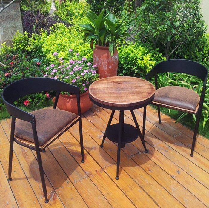 ~美式 ~咖啡廳復古工業風桌椅組 酒吧桌椅組 戶外陽台休閒洽談桌 一桌二椅