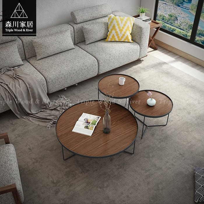 《森川家居》PLT-34LT30-現代LOFT設計圓几三件組 沙發餐廳民宿/餐椅收納北歐/美式LOFT品東西IKEA
