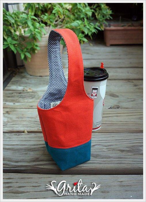 ♥grita's handmade♥手作環保飲料提袋/手搖杯/環保杯袋/隨身提包/帆布包—橘紅+土耳其藍雙色(預購)