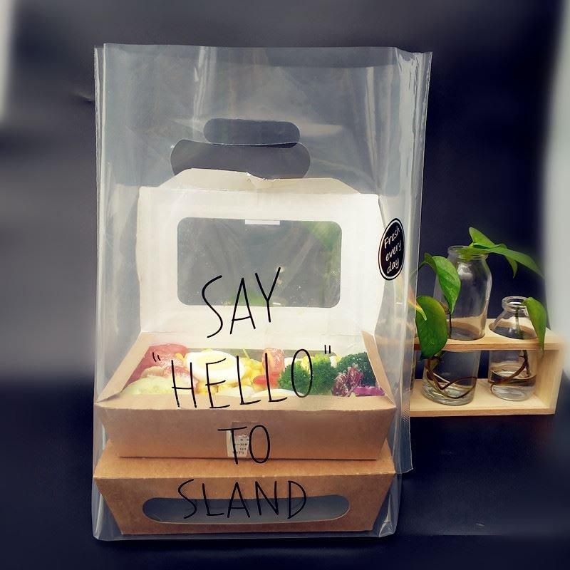 ▪28*28*12cm▪♥SAY HELLO♥高壓純透明塑料袋/沙拉打包袋/餐紙盒打包袋/食品級烘焙包裝袋(10只/包)
