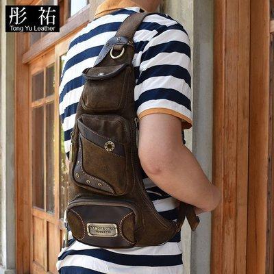 【彤祐TongYu】韓款休閒百搭牛仔布胸前包 男用女用帆布斜跨包側背包肩背包戶外包旅行包多功能包