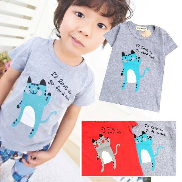 【班比納精品童裝】打招呼灰貓咪T-紅/灰 二色可選【BN150424005】