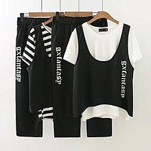 衣美黛 中大 休閒印花字母三件套  黑白條紋 白色上衣組 L~4XL 59~141