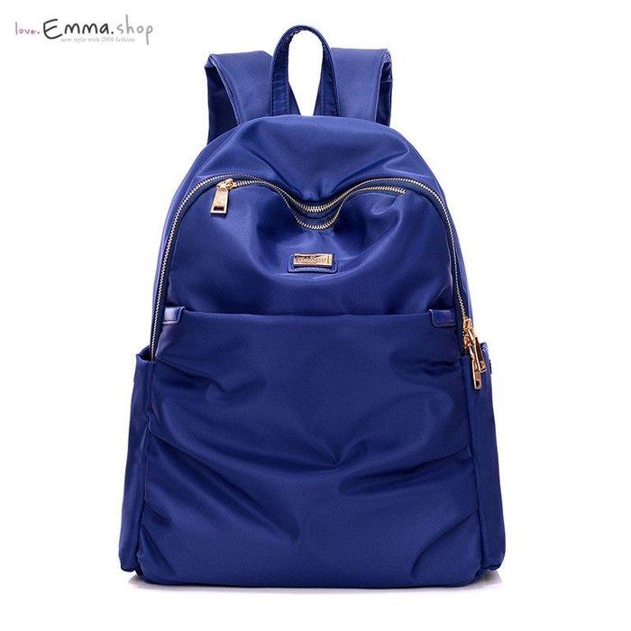 EmmaShop艾購物-時尚美背防水尼龍後背包/金色金屬/新款雙肩包大空氣包旅行背包包韓國連線
