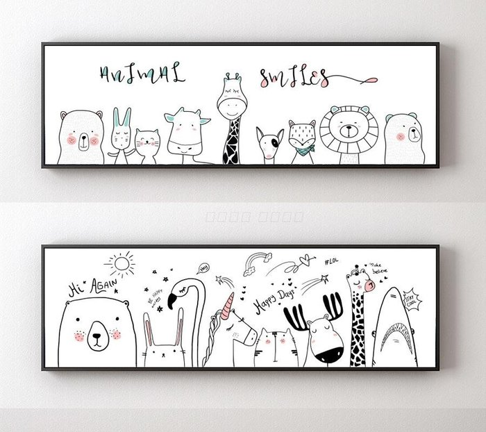 ins現代北歐簡約動物卡通裝飾畫畫芯兒童房床頭畫掛畫(2款可選)