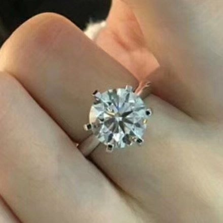 超大4克拉鑽戒T家六爪鑲鑽戒求婚 結婚 情人節禮物 鑽石純銀包白金戒指 高碳仿真鑽莫桑石  FOREVER鑽寶