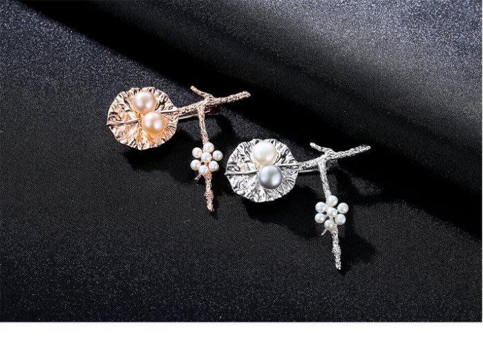 【黛恩珠寶 DIAN JEWELRY】日系風荷設計師款別針 925純銀 特價中珠寶耳環手鍊對戒鑽戒婚戒 流行 美妝保養品