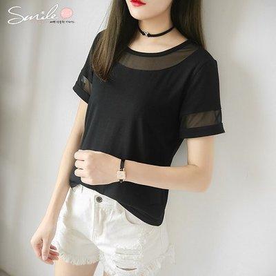 【V8211】SMILE-透視美感.網紗拼接寬鬆顯瘦短袖上衣