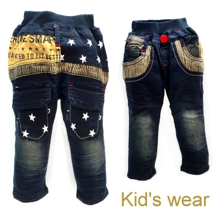 【班比納精品童裝】口袋星星直條紋彈力牛仔褲-藍【BM140724025】