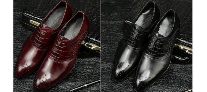 爵式新品男士牛皮商務正裝皮鞋鱷魚紋雕花布洛克鞋尖頭系帶男鞋潮