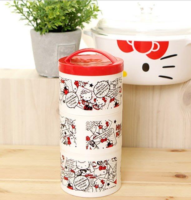 日本進口正品hello kitty似漫畫三層便當盒凱蒂貓正版飯盒