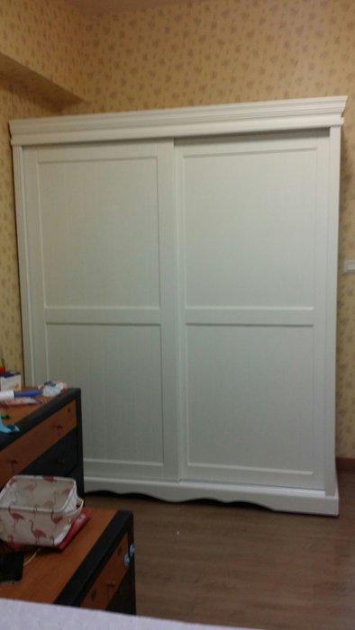美生活館 全新 美式鄉村風格 客訂 全實木 雙推門 象牙白 衣櫥 /衣櫃 收納櫃 也可修改尺寸顏色再報價