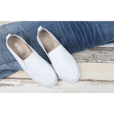 【富發牌】真皮素雅風味綁帶懶人鞋(版型偏小)-白 8013A_橋爸爸鞋包精品