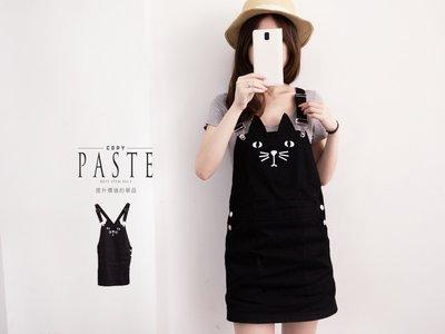 Copy&Paste【SK32】歐美百搭顯瘦修身可愛個性貓咪印花立體耳朵口袋牛仔吊帶裙連身裙S-4XL (預購) 大尺碼