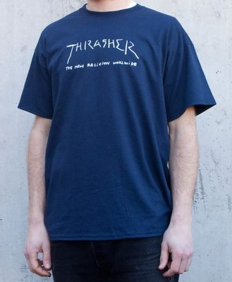 【THRASHER】New Religion Worldwide純棉圓筒Tee (藍色)