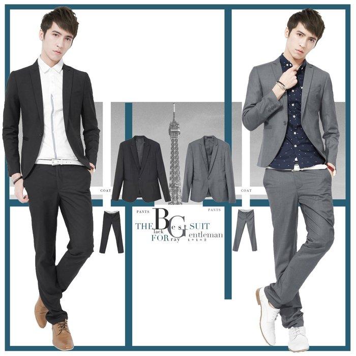 。SW。【K31138】免運 韓 修身顯瘦!! 硬挺質感 西裝布 黑/灰  單扣 劍領 窄版素面 雅痞紳士 成套西裝