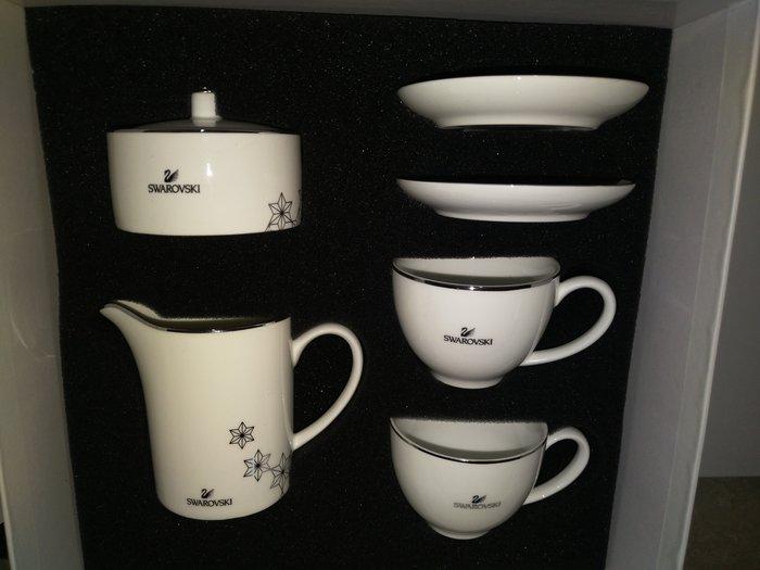 (全新~情人生日禮物)施華洛世奇 水晶 咖啡杯盤組 下午茶組 限量(附原廠白色包裝盒)/(另珠寶盒水晶筆)