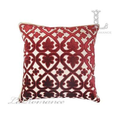 【芮洛蔓 La Romance】 奢華系列紅色歐式經典圖騰棉麻抱枕 / 靠枕 / 靠墊 / 方枕
